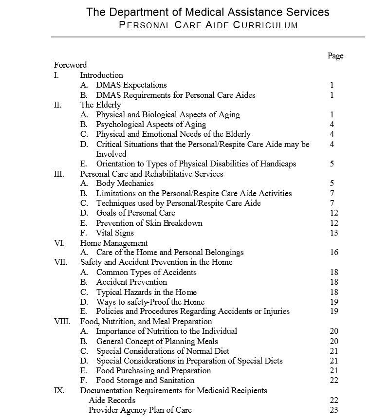 Personal Care Aide Curriculum